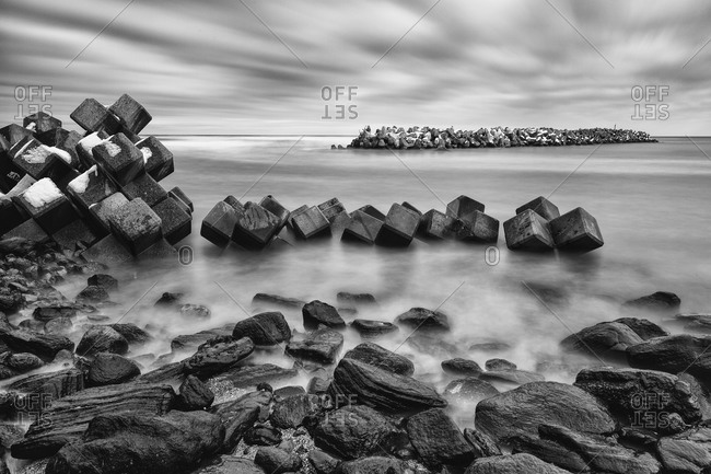 Tetrapods on rocky Japanese coast