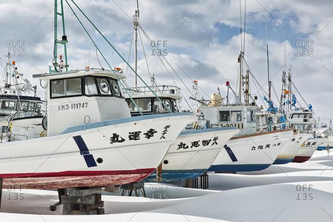Hokkaido, Japan - January 14, 2015: Boats put up for winter in Japan