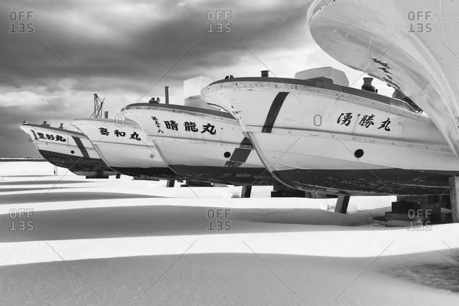 Hokkaido, Japan - January 14, 2015: Boats put away for winter in Japan