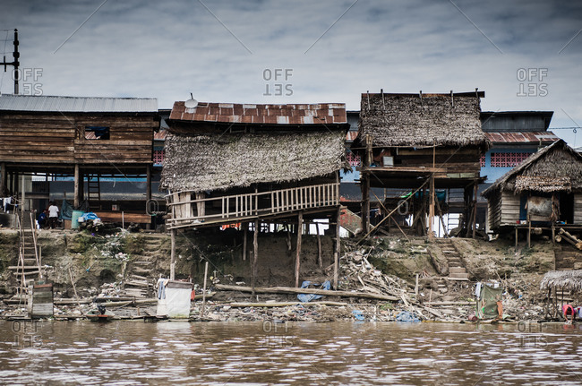 Stilted houses along Amazon in Peru