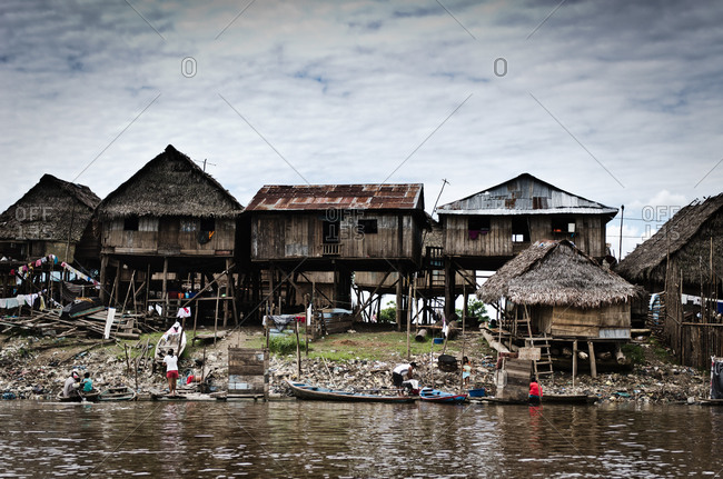 Stilted houses along Amazon river in Peru