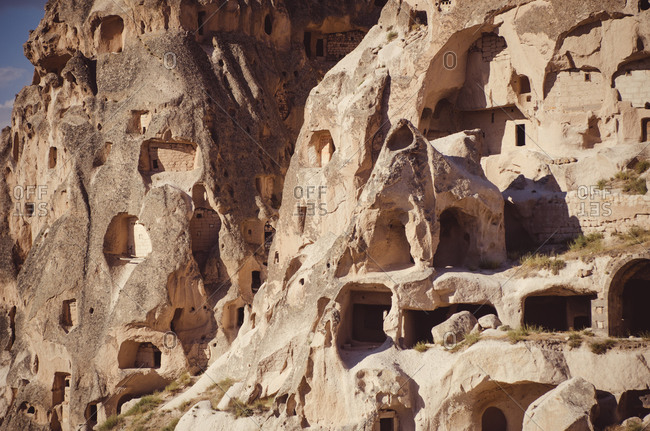 Ancient hillside houses in Cappadocia, Turkey