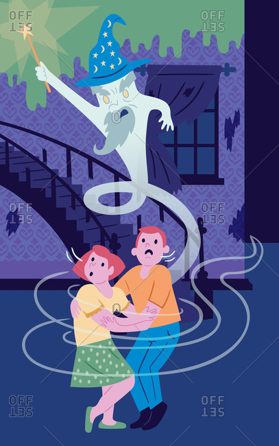An illustration of a couple frightened by a ghost