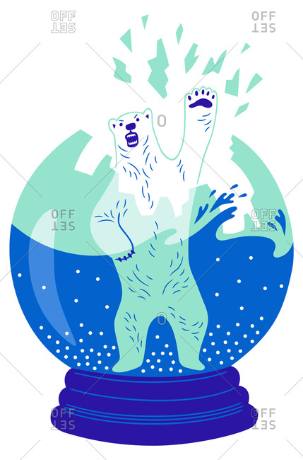 An illustration of a polar bear breaking through a snowglobe