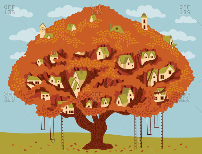 An illustration of a tree filled with tiny houses