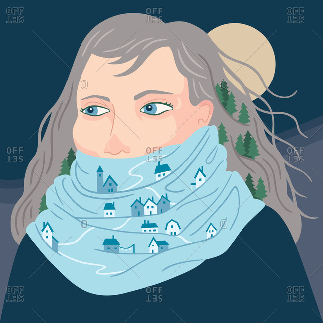 An illustration of a woman with houses in her scarf and trees in her hair