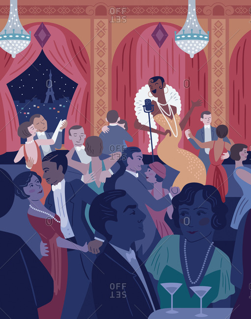 An illustration of a woman singing at a club in Paris