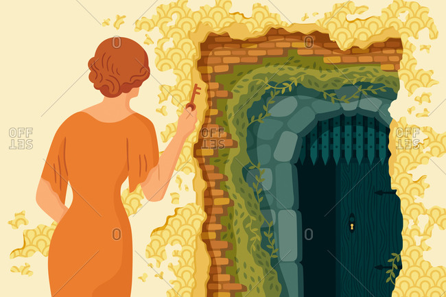 An illustration of a woman finding a locked door
