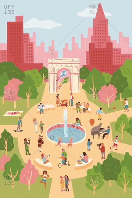 An illustration of Washington Square Park in New York City