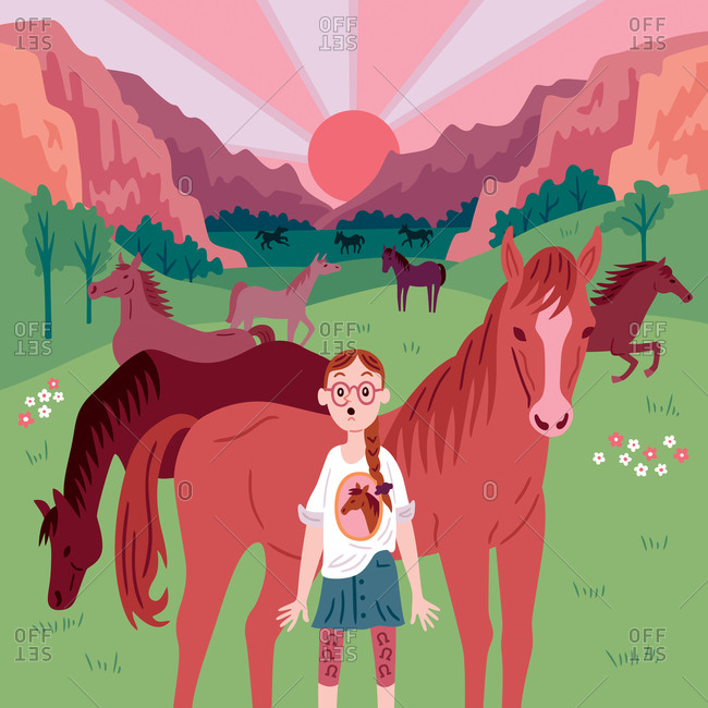 An illustration of a little girl with horses