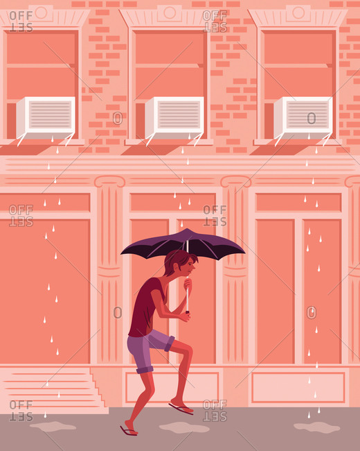 An illustration of a man walking under air conditioning units with an umbrella