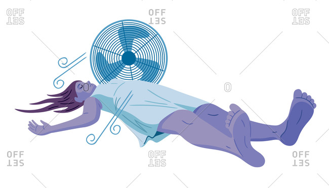 An illustration of a woman laying next to a fan