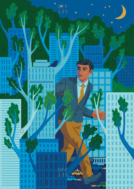 An illustration of a man walking through a grove of high-rises