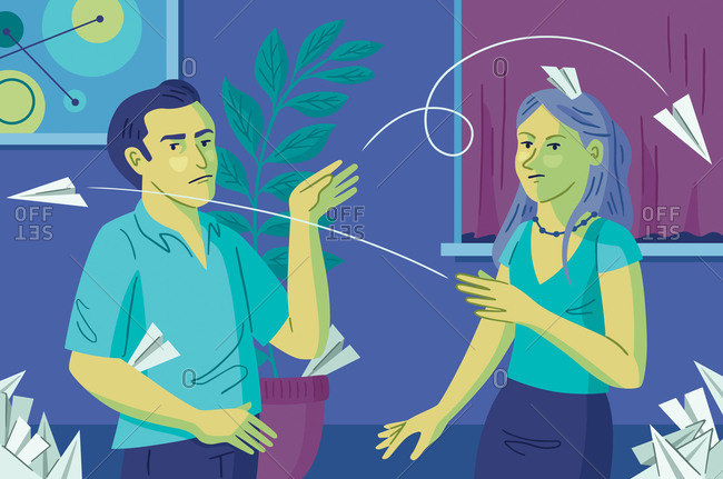 An illustration of a man and a woman throwing paper airplanes