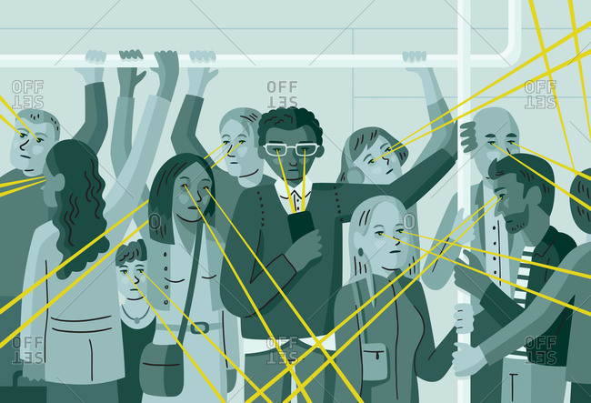 An illustration of commuters on the subway