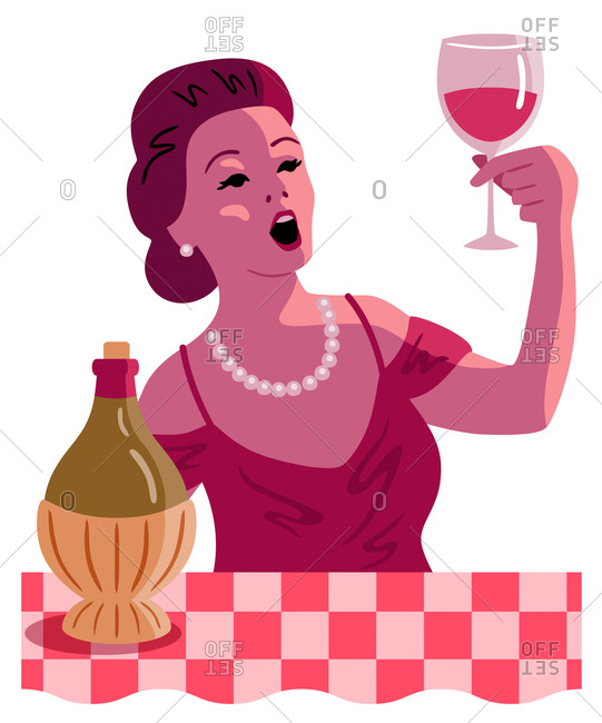 An illustration of a woman holding up a glass of red wine