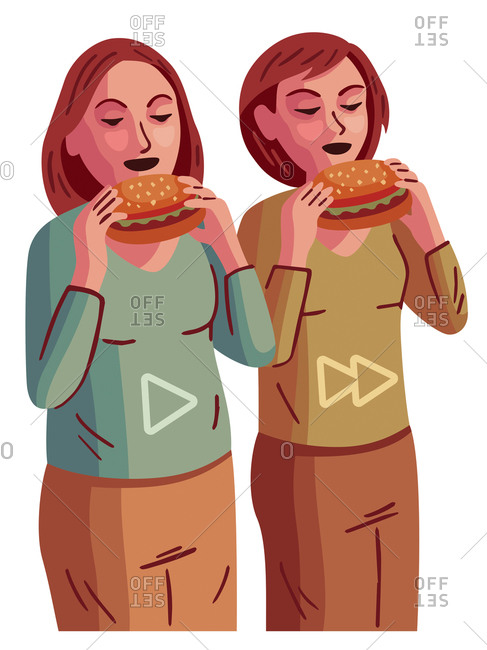 An illustration of two women about to take a bite of hamburgers