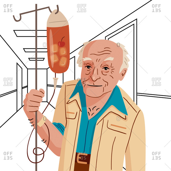 An illustration of an old man with a cocktail in his IV