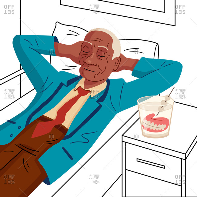 An illustration of an old man relaxing next to his dentures