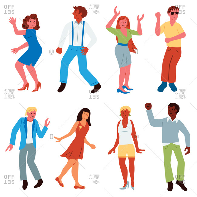 An illustration of people dancing