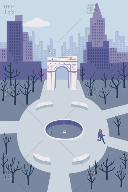 An illustration of a woman walking through Washington Square Park in New York City