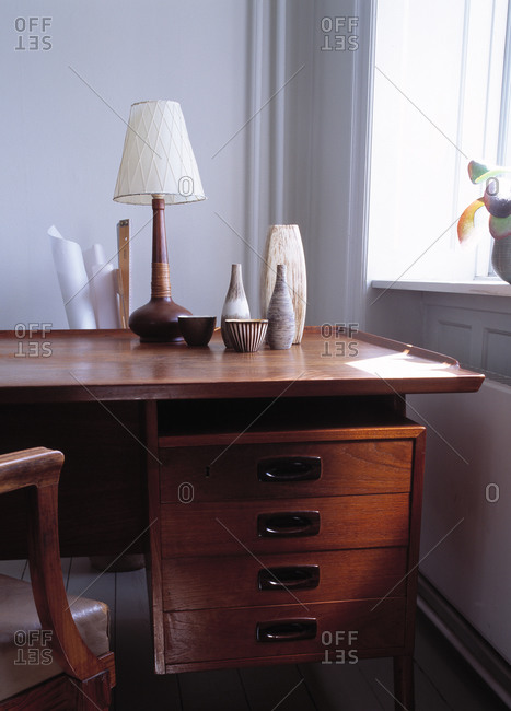 Decorations on a desk in a home office