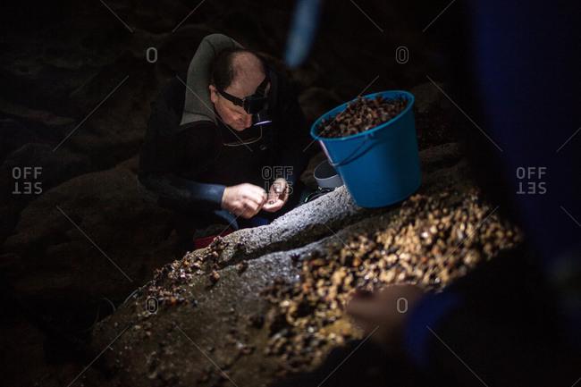 Laxe, A Coruna, Spain - December 20, 2011: A percebeiro checks his daily catch