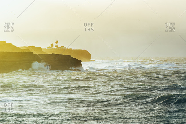 Crashing waves on the coast of Peniche, Portugal