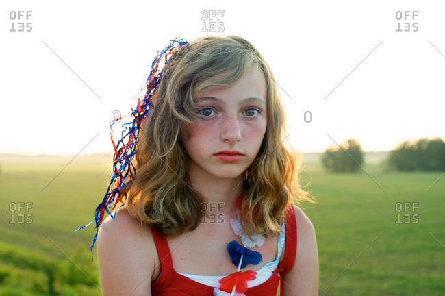 Portrait of a girl in red, white, and blue on the Fourth of July
