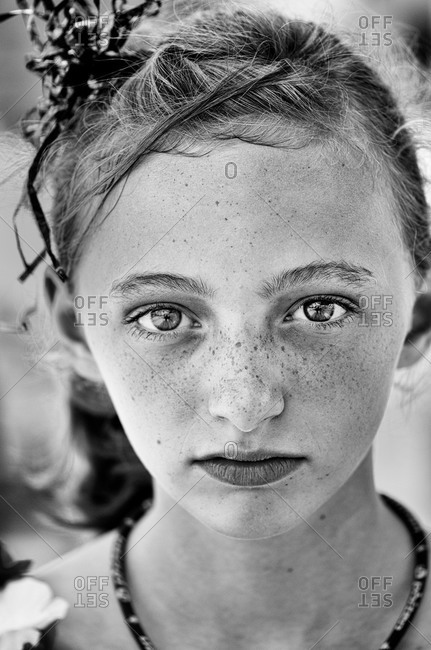 A girl with ribbons in her hair