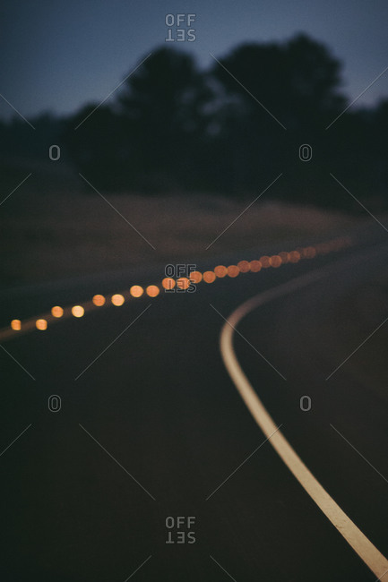 Reflective lines and markings on a road at night