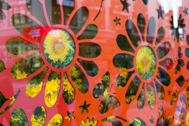 NY, NY, USA - April 4, 2015: Floral window display in New York City, NY, USA