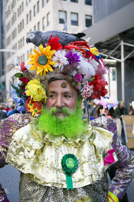 NY, NY, USA - April 4, 2015: Portrait of a man wearing a costume at the Easter Parade down 5th Avenue, New York City