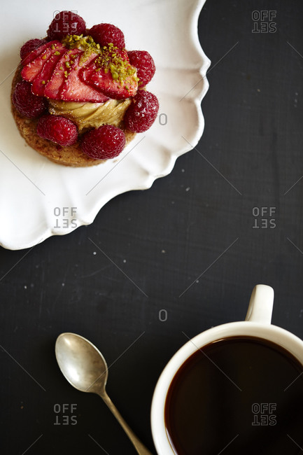 Strawberry short cake and coffee from above