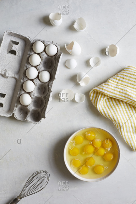 Cracked eggs in bowl for whisking