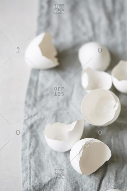 Cracked egg shells on fabric