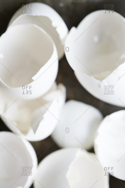 Close up of empty cracked egg shells