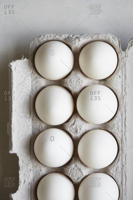 Close up of eggs in carton