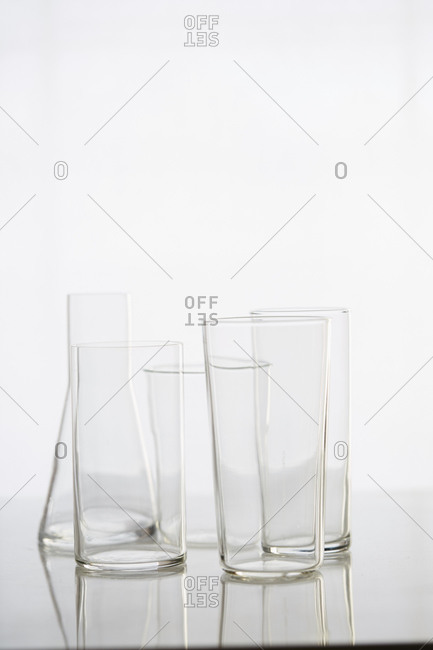 Various clear vases on white background