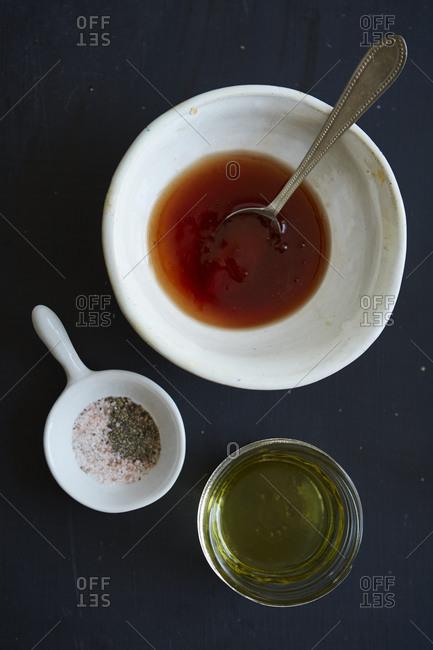 Ingredients for vinaigrette salad dressing