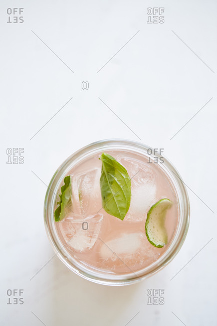 Summer cocktail in glass from above