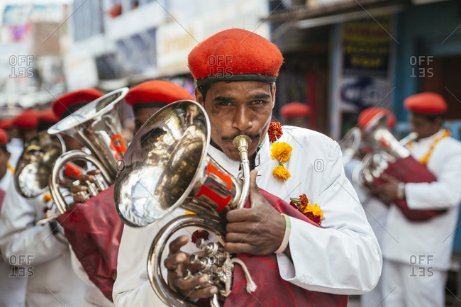 Pushkar, India - February 1, 2015: Band playing during wedding procession in India