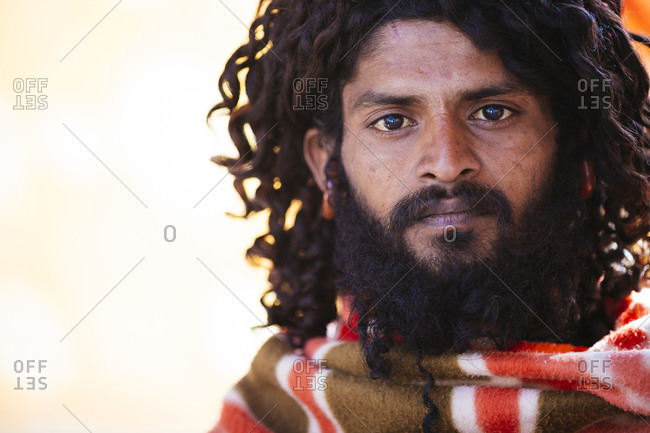 Rajasthan, India - February 2, 2015: Portrait of Indian baba, or holy man