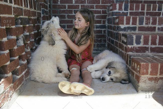 A little girl pets her puppy