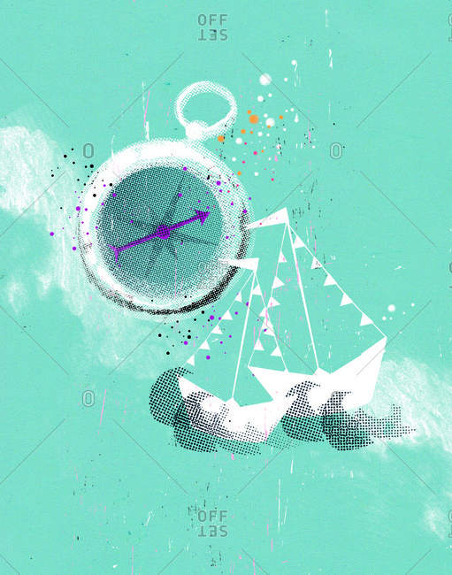 A compass with boats