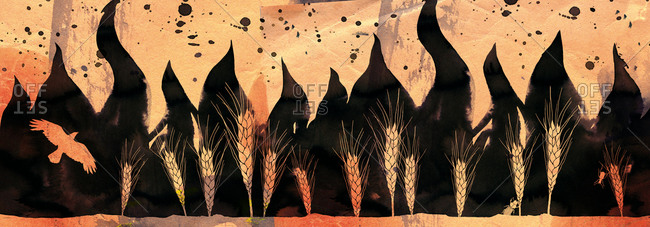 An illustration of wheat growing in front of black flames