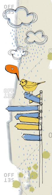 A bird on a pole with arrows