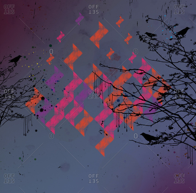 Neon shapes and crows on trees