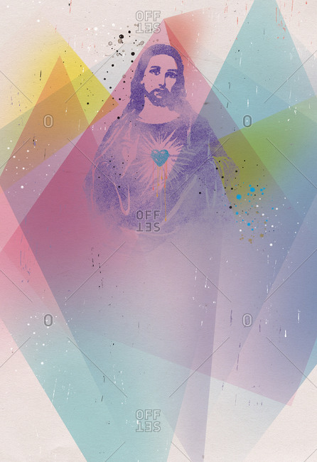 Icon of Jesus layered in geometric shapes