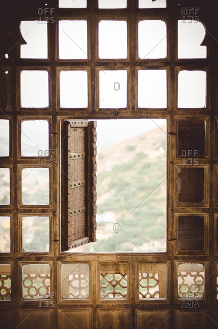 Opened wooden window in Bundi, Rajasthan, India